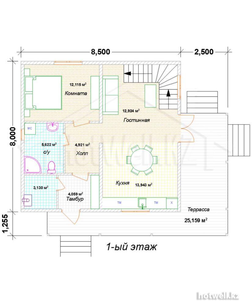 Н-170 Проект дома из СИП панелей Алматы