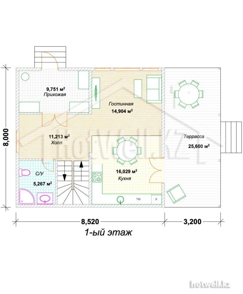 О-166 Проект дома из СИП панелей Алматы
